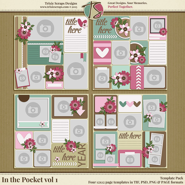 In The Pocket Vol 1 Digital Scrapbooking Template Pack Digital