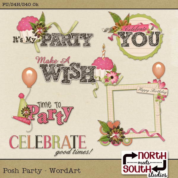 Posh Party Digital Scrapbooking Wordart