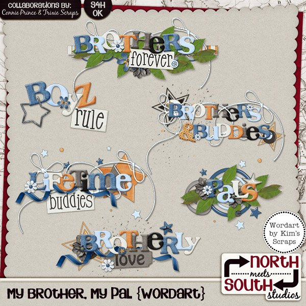 My Brother, My Pal Digital Scrapbooking Wordart Siblings Family Kids