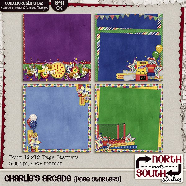 Charlies Arcade Digital Scrapbooking Collab Page Starters