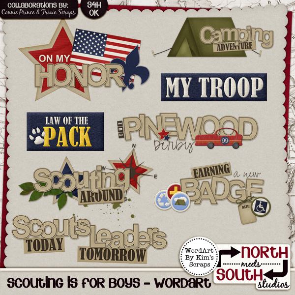 Scouting is for Boys Digital Scrapbooking Wordart Tiger Cub Boy Scout
