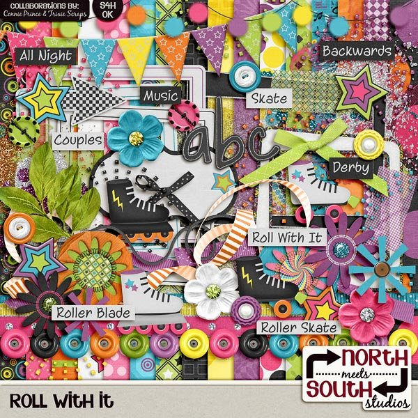 Roll With It Digital Scrapbooking Collab Kit Roller Skating