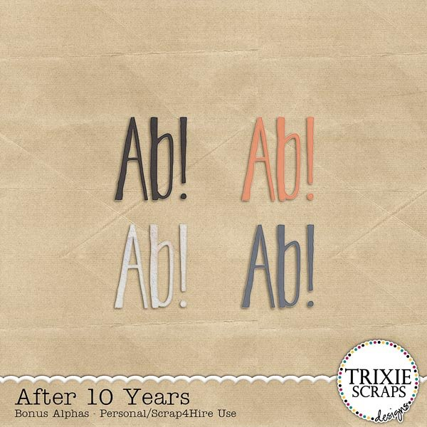 After 10 Years Digital Scrapbooking Bonus Alphas
