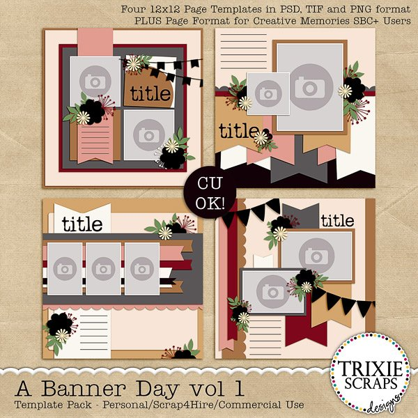 A Banner Day vol 1 Digital Scrapbooking Templates PSD/TIF/PAGE