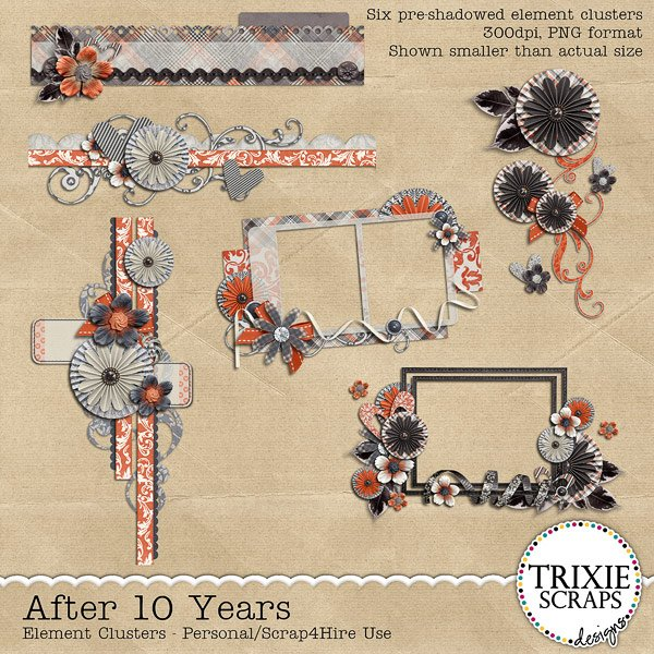 After 10 Years Digital Scrapbooking Clusters