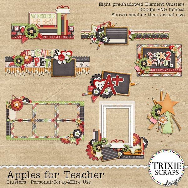 Apples for Teacher Digital Scrapbooking Clusters