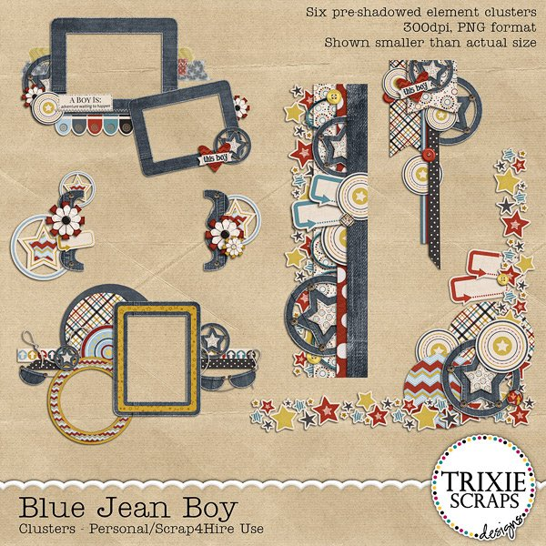 Blue Jean Boy Digital Scrapbooking Clusters