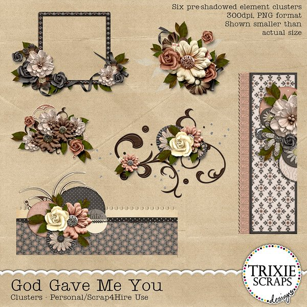 God Gave Me You Digital Scrapbooking Clusters