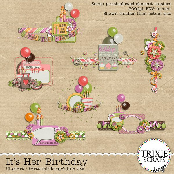 It's Her Birthday Digital Scrapbooking Clusters