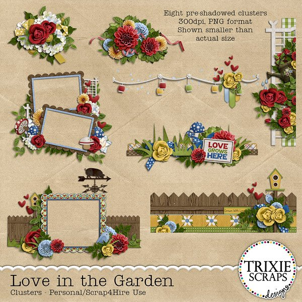 Love in the Garden Digital Scrapbooking Clusters