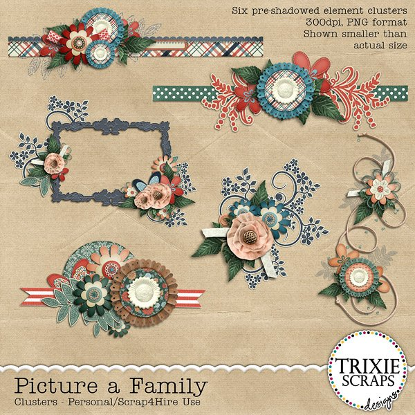 Picture a Family Digital Scrapbooking Clusters