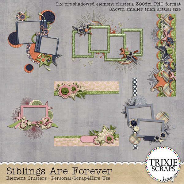Siblings Are Forever Digital Scrapbooking Element Clusters