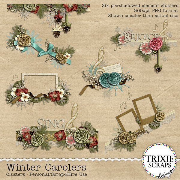 Winter Carolers Digital Scrapbooking Clusters