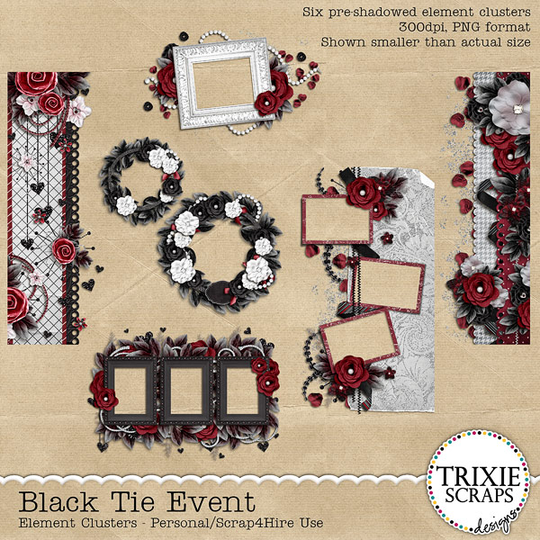Black Tie Event Digital Scrapbooking Clusters Wedding Formal Special Event
