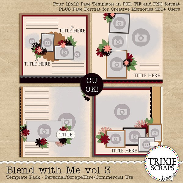Blend with Me vol 3 Digital Scrapbooking Templates PSD/TIF/PAGE
