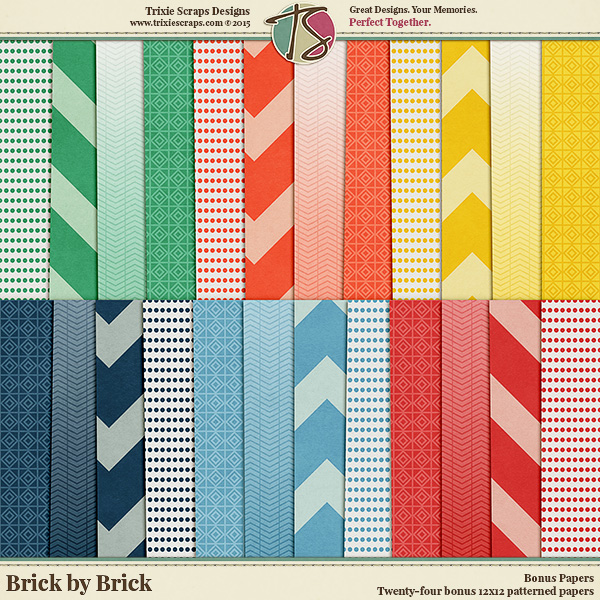 Brick by Brick Digital Scrapbooking Bonus Papers