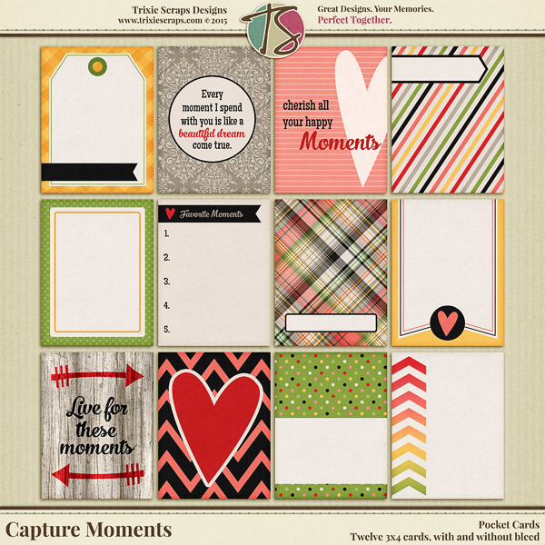 Capture Moments Digital Scrapbooking Pocket Cards