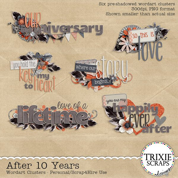 After 10 Years Digital Scrapbooking Wordart
