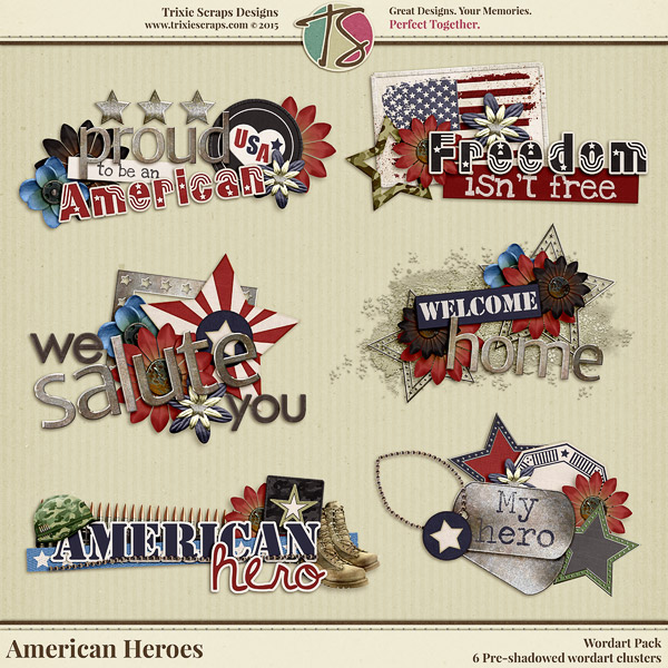 American Heroes Digital Scrapbooking Wordart - Military Veteran Patriotic