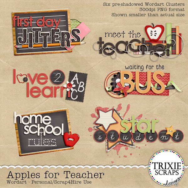 Apples for Teacher Digital Scrapbooking Wordart