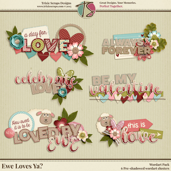 Ewe Loves Ya? Digital Scrapbooking Wordart - Valentine's Day Love