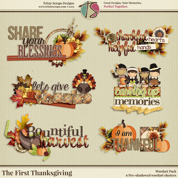 The First Thanksgiving Digital Scrapbooking Wordart
