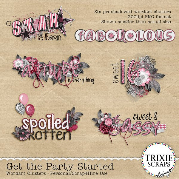 Get the Party Started Digital Scrapbooking Wordart
