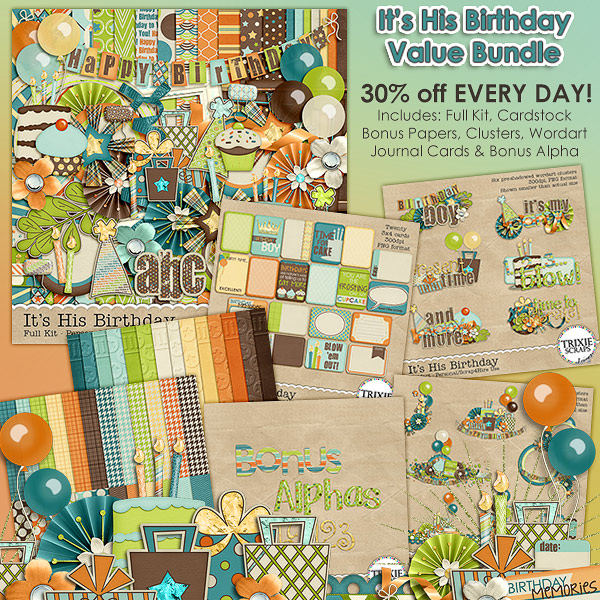 It's His Birthday Digital Scrapbooking Value Bundle