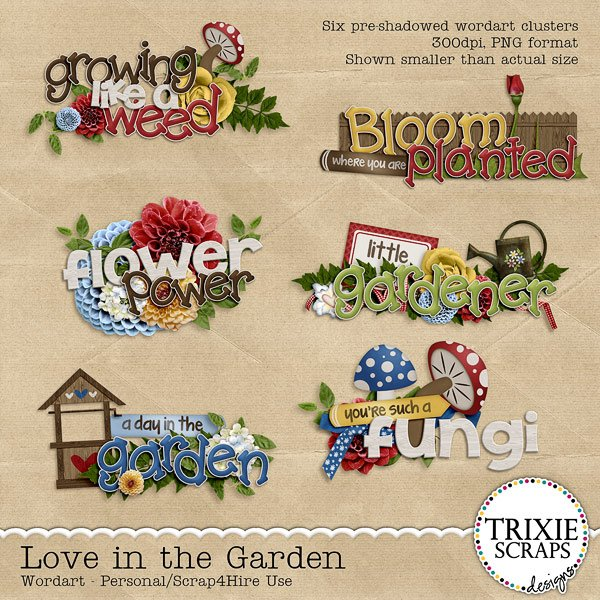 Love in the Garden Digital Scrapbooking Wordart
