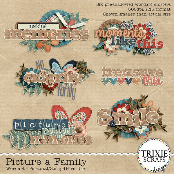 Picture a Family Digital Scrapbooking Wordart