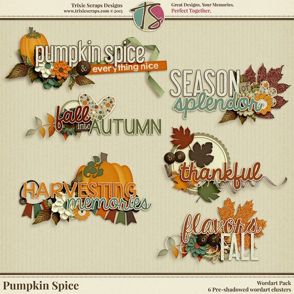 Pumpkin Spice Digital Scrapbooking Wordart