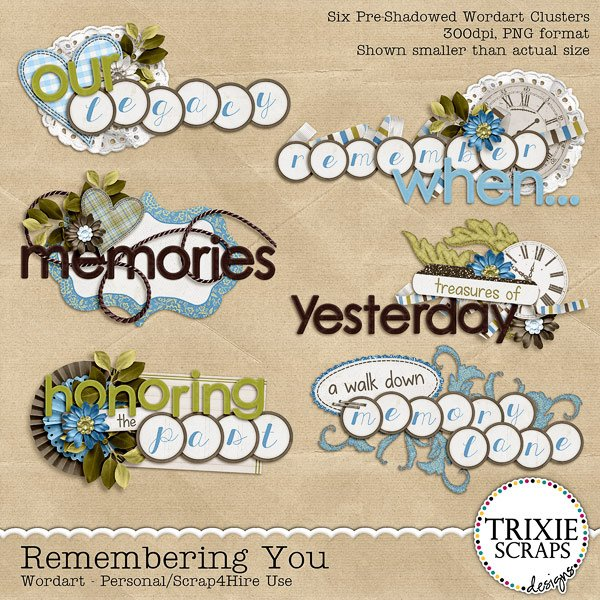 Remembering You Digital Scrapbooking Wordart