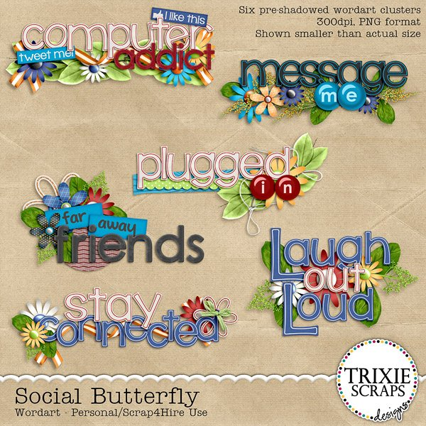 Social Butterfly Digital Scrapbooking Wordart