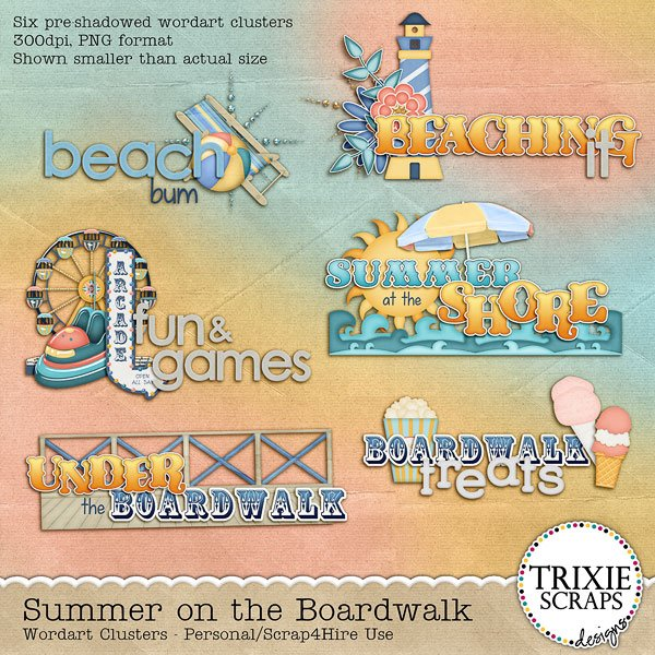 Summer on the Boardwalk Digital Scrapbooking Wordart