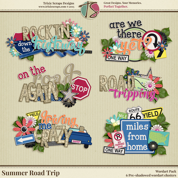 Summer Road Trip Digital Scrapbooking Wordart