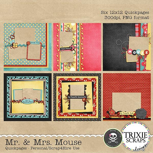 Mr. & Mrs. Mouse Digital Scrapbooking Quickpages Disney Vacation