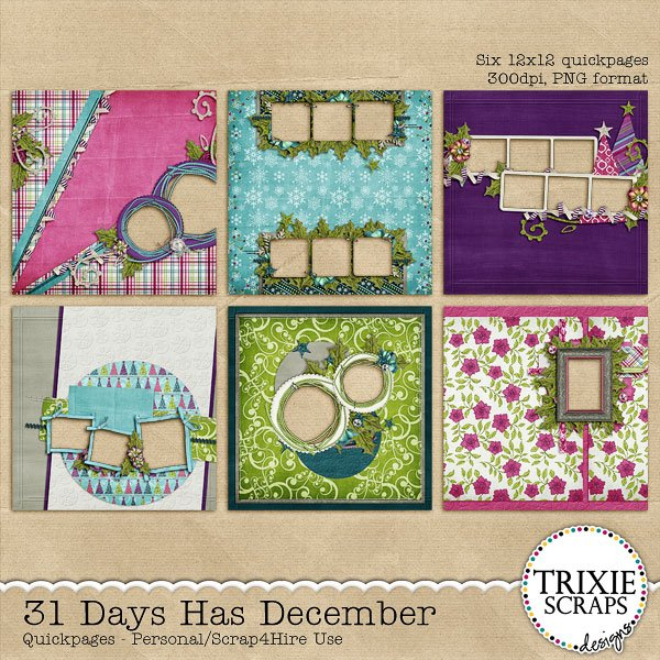 31 Days Has December Digital Scrapbooking Quickpages