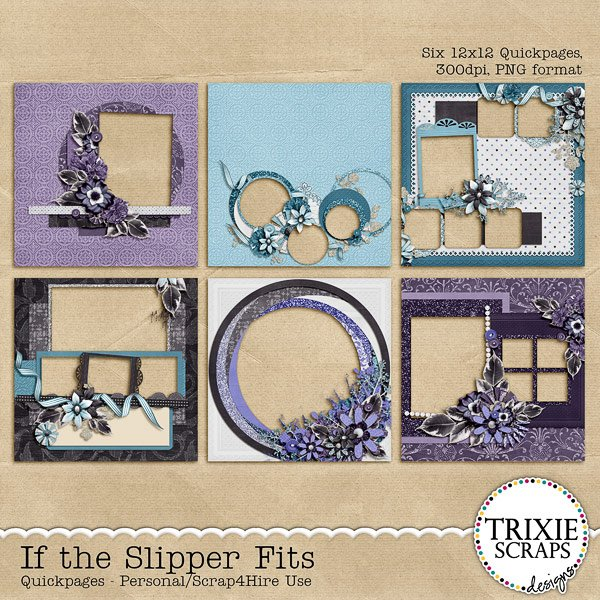 If the Slipper Fits Digital Scrapbooking Quickpages Disney