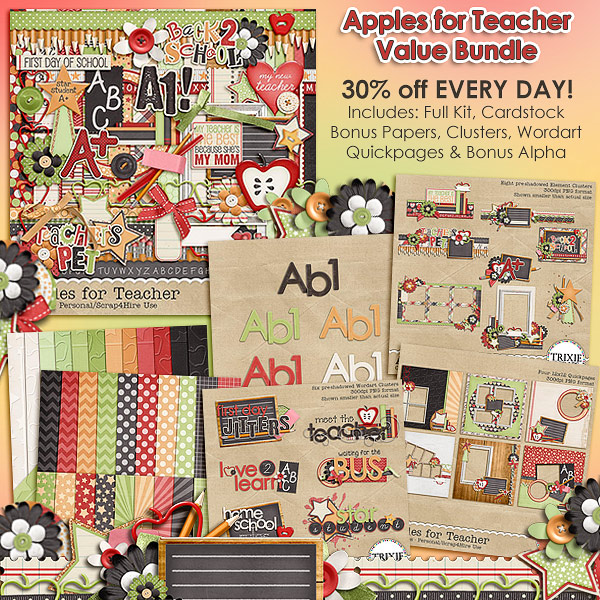 Apples for Teacher Digital Scrapbooking Value Bundle
