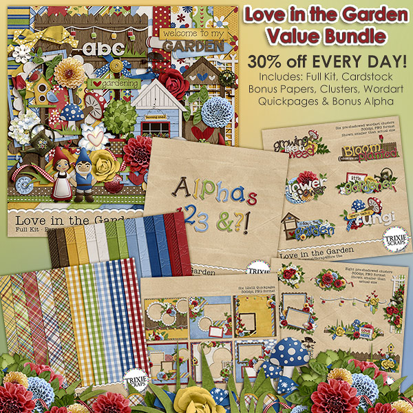 Love in the Garden Digital Scrapbooking Value Bundle Gnomes Frogs