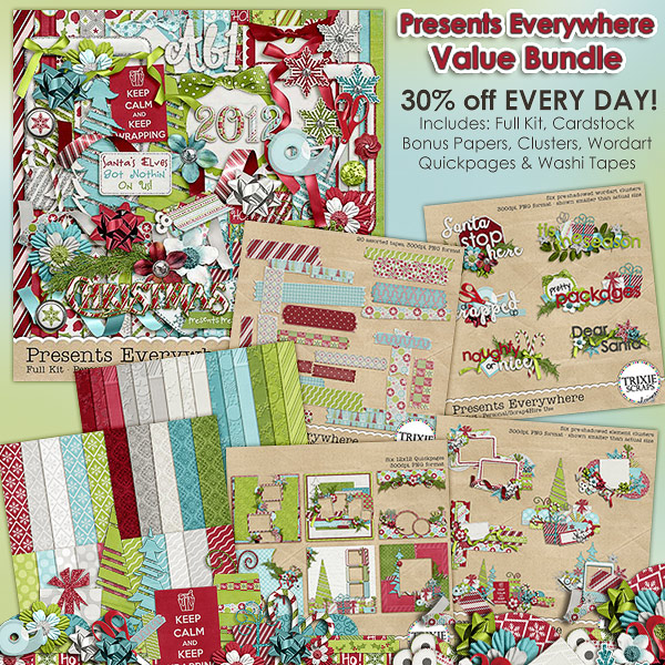 Presents Everywhere Digital Scrapbooking Value Bundle Christmas