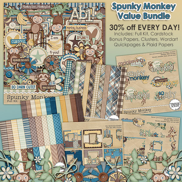Spunky Monkey Digital Scrapbooking Value Bundle