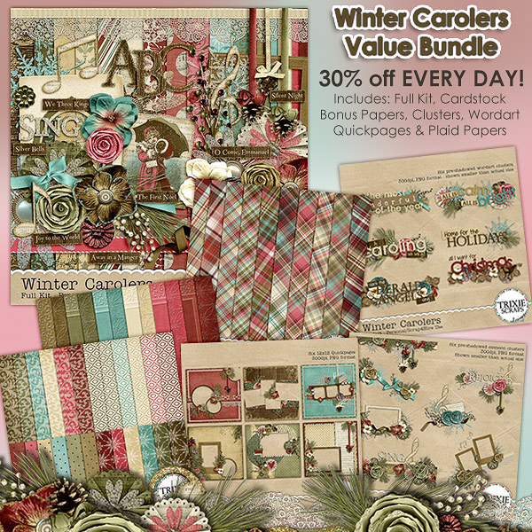 Winter Carolers Digital Scrapbooking Value Bundle Christmas