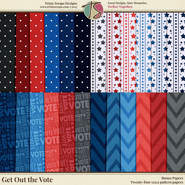 Get Out the Vote Digital Scrapbooking Bonus Papers