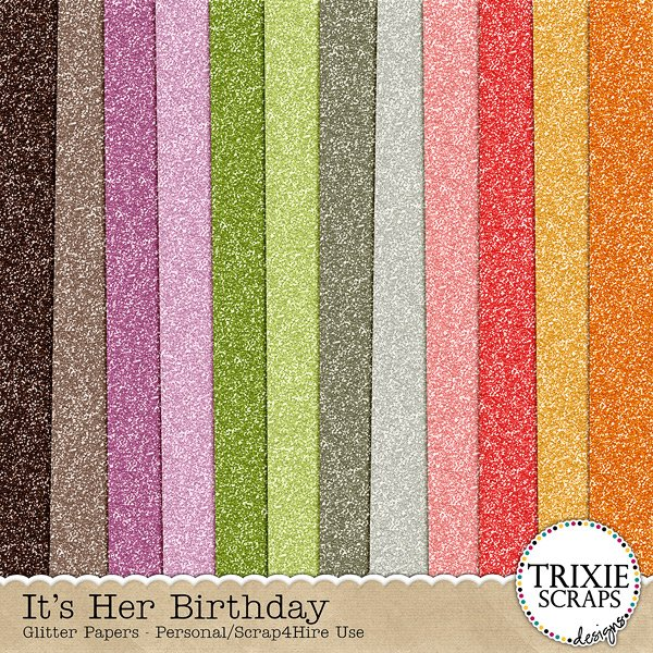 It's Her Birthday Digital Scrapbooking Glitter Papers