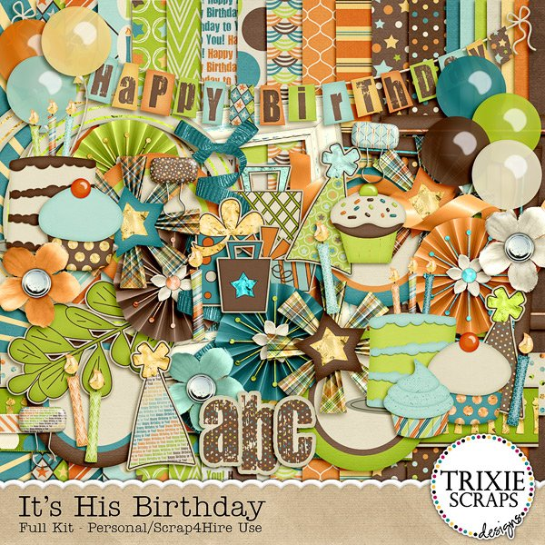 Its His Birthday Digital Scrapbooking Full Kit Happy Balloons Cake