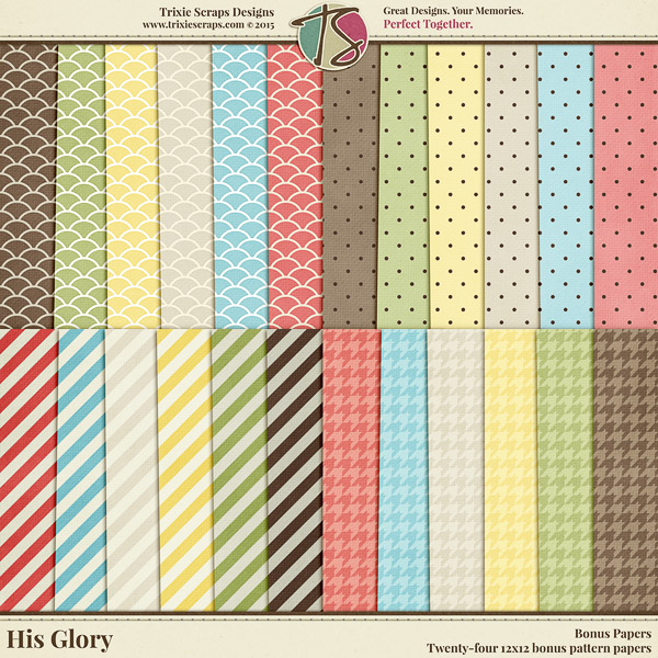 His Glory Digital Scrapbooking Bonus Papers - Easter Faith Religious