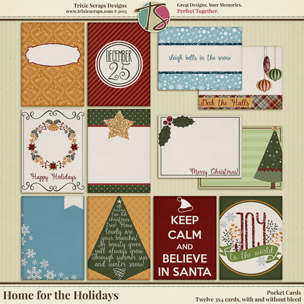 Home for the Holidays Digital Scrapbooking Pocket Cards