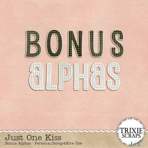 Just One Kiss Digital Scrapbooking Bonus Alphas Disney