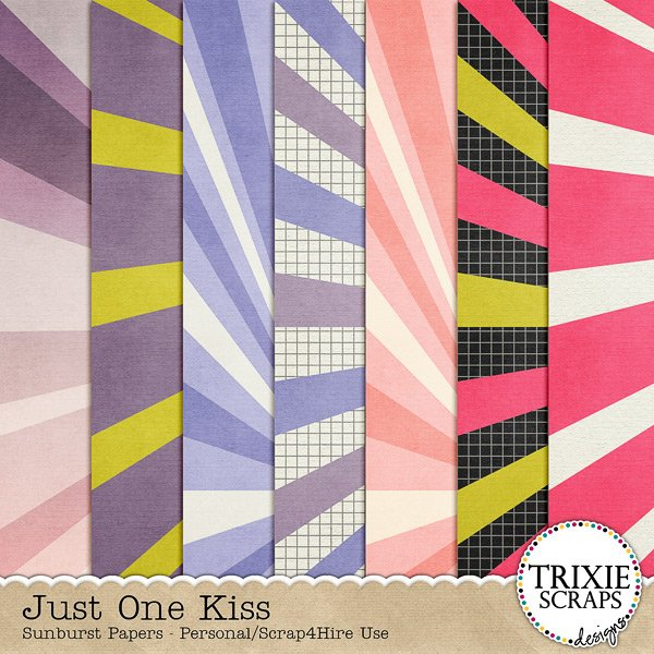 Just One Kiss Digital Scrapbooking Sunburst Papers Disney